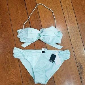 Ninety Six Degrees Green Pastel Bikini Size L